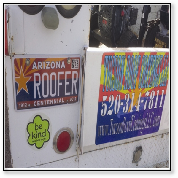 Tucson Roof Coating Tucson Roof Coatings LLC Work Truck Plate 4-2016
