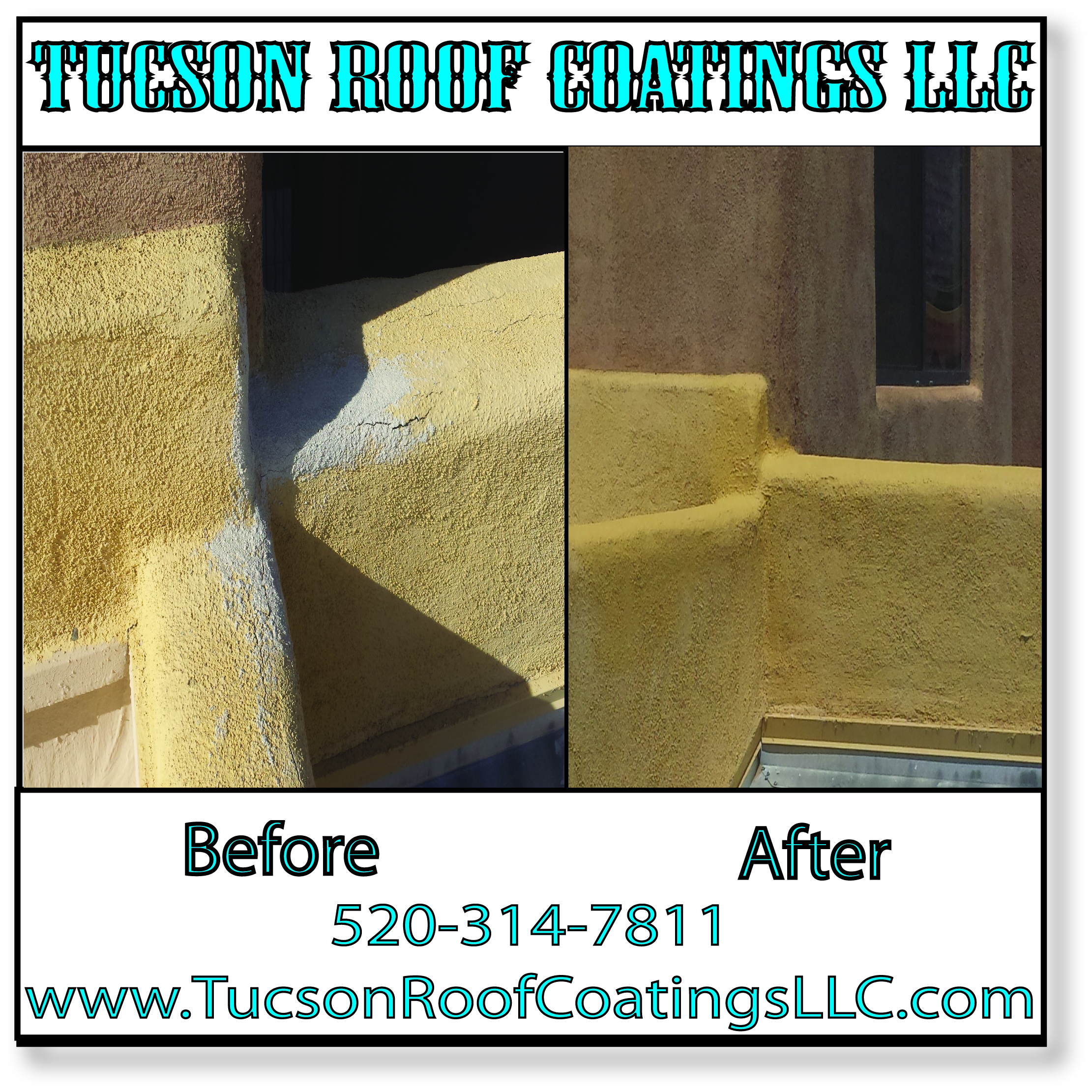 Before And After 4-14-2016 Tucson Roof Coatings LLC Stucco Repair
